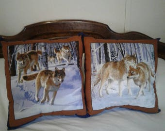 New Handmade Blue & Brown Cotton Wolf Pillows Wild Life Set of 2 - 16  X 16 Nice Decor, Gift Southwestern Boho Living Room Ready to Ship