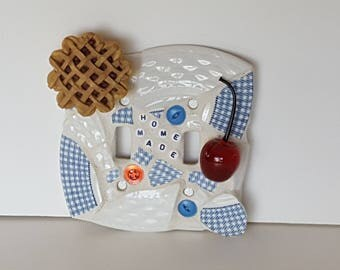 Hand Made Home Made Country Comfort Kitchen Mosaic Double Light Switch Plate Cover New