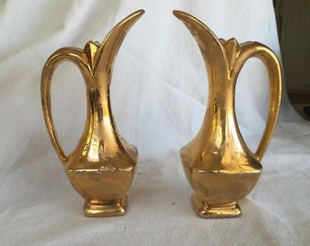 Gold drip ewers Savoy pitchers elegant lines matching 24k gold glaze metallic gold glaze