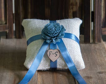 French Blue Sola Flower Ring Bearer Pillow, You pick flower and ribbon color