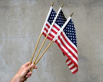 3 x Vintage USA American Stars and Stripes Celebration Flags