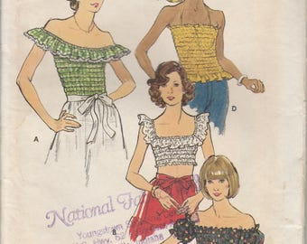 1970's Sewing Pattern Butterick 3657 Misses crop tops bust 34-36