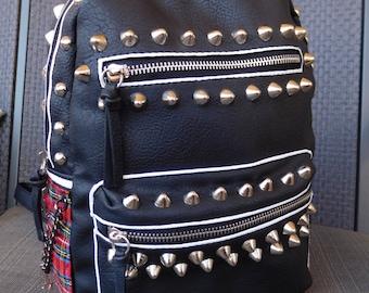 Faux Black Leather Leopard Red Plaid Punk Studded Backpack; Punk accessories; Punk bag; Punk purse;