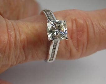 Estate Cushion Cut Moissanite Diamond Ring 1.53Ctw WG 14K 4gm Size 7.75 (7 3/4)