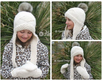 Knitting Pattern 201 Knitted Earflap Hat Faux Fur Pompom Winter Cream Hat Boy Girl Toddler Child Teen Women Men Unisex Adult Christmas Gift