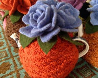 Orange and Blue Rose Tea Cozy