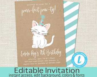 Cat Birthday Invitation, purr-fect paw-ty Invitation, Editable Birthday invite, Kraft Kitten Invitation, Cat, Templett, Instant Download