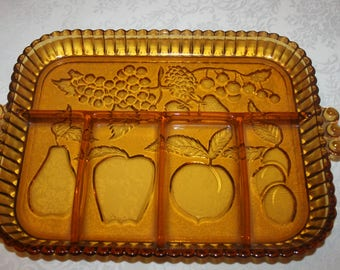 Vintage Indiana Glass Divided Relish Rectangle Serving Plate Fruit Pattern Colonial Amber Color