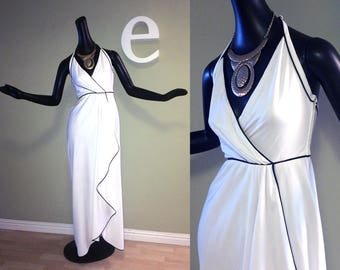 Sexy 70s Toga Party Groovy Vintage Disco Halter Dress! White 1960s 1970s Hippie Beach Wedding Gown Groovy Prom Dress by Frank Usher London