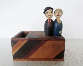 Vintage Cigarette Dispenser Mechanical Wood Box Kissing Couple