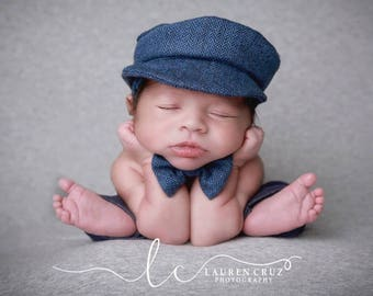 BabyBoy Tweed Newsboy Hat and Bow tie for newborn photo shoots, bebe foto, boy cap, golf cap, photographer, by Lil Miss Sweet Pea
