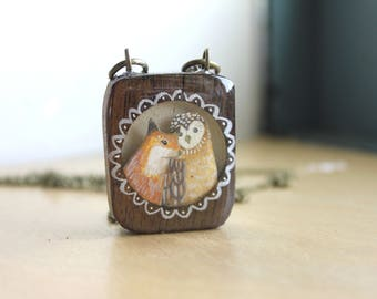 Fox and Owl Friendship Necklace