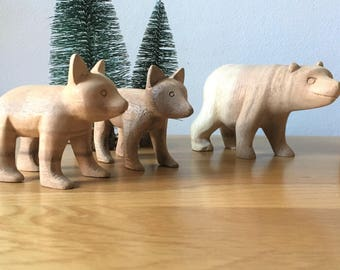 Hand-carved wooden bears