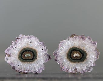Stalactite Flowers Amethyst Slices, Gemstone Crystal Pair for Earrings and Jewelry All Natural Specimen February Birthstone (CA8804)