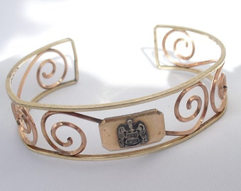Vintage Krementz Rolled Gold Cuff Bracelet  - Yellow and Rose Gold Filled