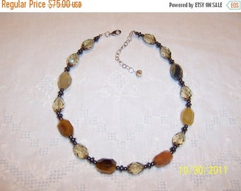 TWICE A YEAR, 25% Off Agate, Brown Faceted crystal and hematite necklace. sterling silver.
