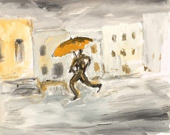 Oil painting of Man in the Rain