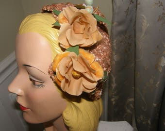 Vintage 1940s Floral Headpiece Coppery Apricot Woven Straw Demi Hat With Gorgeous Roses One Size Fits All Wedding Formal Events Fascinator