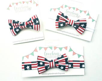 Fourth of July hair bow,  baby hair bow, July Fourth hair clip, bow headband, July 4th bow tie, hair bow, patriotic bow headband, stars
