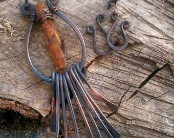 Handcrafted Raw Copper & Orange Kyanite Necklace