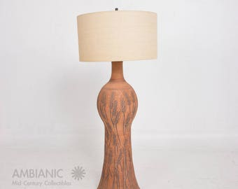 Floor Lamp Wishon Harrel Stoneware Ceramics, Mid-Century California Modern