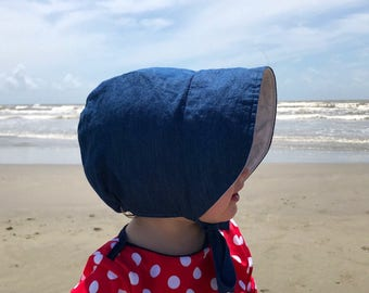 Baby Bonnet, Baby Sunbonnet, Chambray Bonnet, Cotton Baby Hat