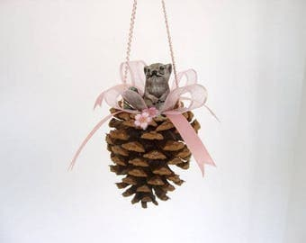 Ornament, pine cone ornament, decorated miniature pine cone with ceramic mouse