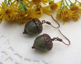 Green Acorn Drop Earrings