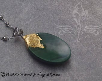 Malachite Worry Stone Silver Pendant (WSPBML0003)
