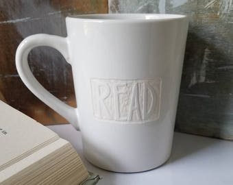 SALE! Engraved READ Mug, Rustic Coffee Cup, Gift for Reader, Writer Gift, Engraved Mugs, Literary Mug, Cute Mugs, Bibliophile, Book Worm Mug