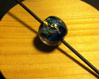FosterFire: Nebula Heart of Gold Lampwork Bead 19mm OOAK