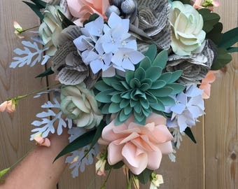 Romantic book inspired cascading bridal bouquet