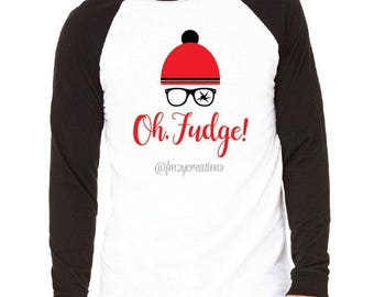 ADULT Christmas Story Shirt / Oh Fudge Shirt / Shoot your eye out tee / You'll shoot your eye out/ Christmas Story Raglan Holiday Shirt