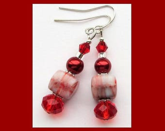 VIBRANT RED- Handcrafted Beaded Earrings- Czech Beads, Pearls, and Crystals- Silver Plated Ear Wires