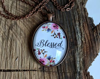 Blessed Floral Oval Pendant Necklace - Purple/Green/Pink Watercolor Flower  Daily Gratitude Reminder Jewelry - Gift for Her