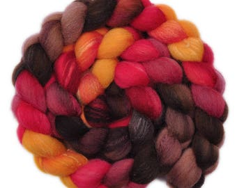 Hand painted combed top roving - Silk / Shetland wool 30/70% spinning fiber - 3.9 ounces - Forging Iron 2
