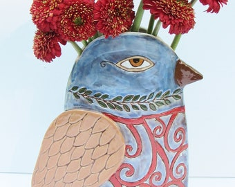 ceramic vase; ceramic bird vase; ceramic art; pottery bird