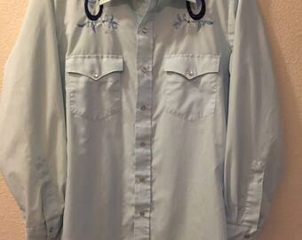 Vintage Chute #1 Western Shirt Men's size Medium Embroidered Horseshoes & Flowers