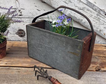 Vintage Galvanized Metal Carrier - Trug -Tool Carrier -  Industrial - Wooden Sides and Leather Handle - Smaller Sized