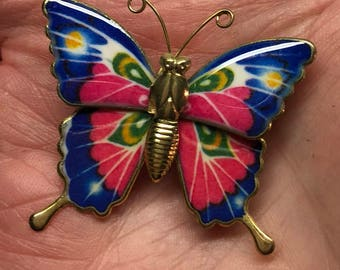 Blue Butterfly Pin Vintage Goldtone Brooch