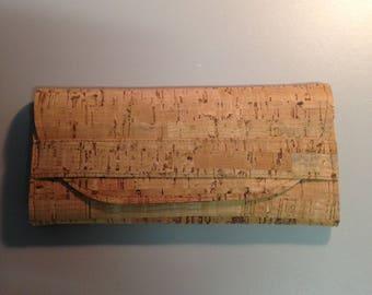 Natural CORK Ladies Wallet - Made to Order - Bamboo Pattern - Vegan