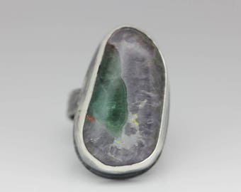 Amethyst & Fluorite Designer Cabochon, Sterling Ring, Unique Boho Ring, Le Chien Noir, Size 6.25