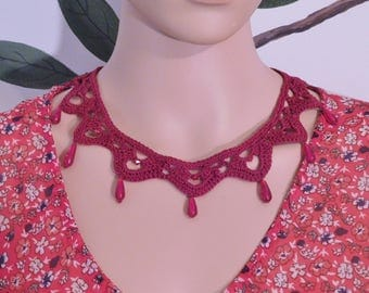 Pomegranate red crocheted and vintage bead necklace