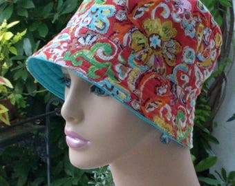 Chemo Hat Bucket Hat Cancer Cap Alopecia Hat Reversible Made in the USA . MEDIUM-LARGE