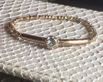 Vintage Rose Gold Bar and Crystal Bracelet