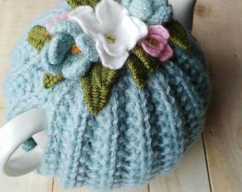 Hand knitted tea cosy/ Pretty posie Tea Cosy/ Hand knit tea cosy/ Tea Cozy