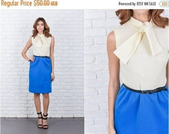 ON SALE Vintage 60s 70s Cream + Blue Color Block Dress Bow Neck Tie Sleeveless XS 7680 vintage dress 60s dress 70s dress xs dress color bloc