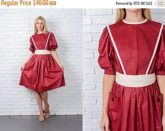 ON SALE Vintage 70s Puff Sleeve Dress Cream Striped Red Full A Line Small S 9811