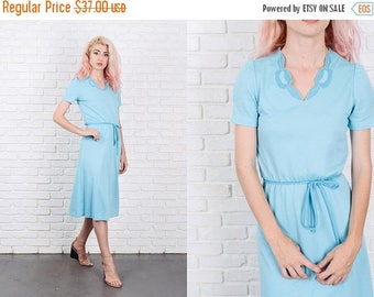 Sale Vintage 80s Blue Retro Dress Embroidered Puff Sleeve Knee length Small S 9873