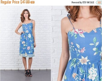 Sale Vintage 80s Blue Retro Dress Striped Floral Print Sweetheart XXS 7718 vintage dress 80s dress blue dress retro dress striped dress xxs
